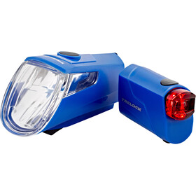 Trelock LS 360 I-GO ECO+LS 720 REEGO Battery Lighting Set blue